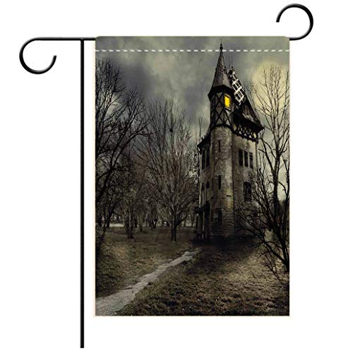 Polyester and linen Garden Flag Outdoor Flag House Flag BannerHalloween Halloween Design with Gothic Haunted House Dark Sky and Leafless Trees Spooky Theme Ddecorated for outdoor holiday gardens
