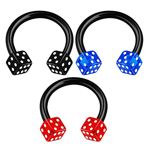 3PCS Anodized Horseshoe Circular Barbell 16 gauge 5/16 8mm 3mm Dice Snake Bite Lobe Earrings Helix Piercing Jewelry 1735