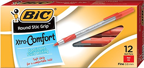 BIC Round Stic Grip Xtra Comfort Ball Pe - Nonrefillable Red Ink Pens Shopping Results