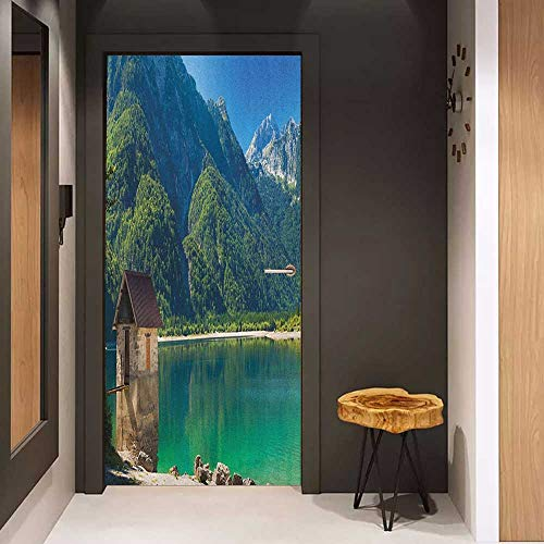 Onefzc Soliciting Sticker for Door Italy Predil Alpine Lake North Italy Slovenian Border Julian Alps Idyllic Scenery Mural Wallpaper W38.5 x H77 Sea Green Blue Ivory ()