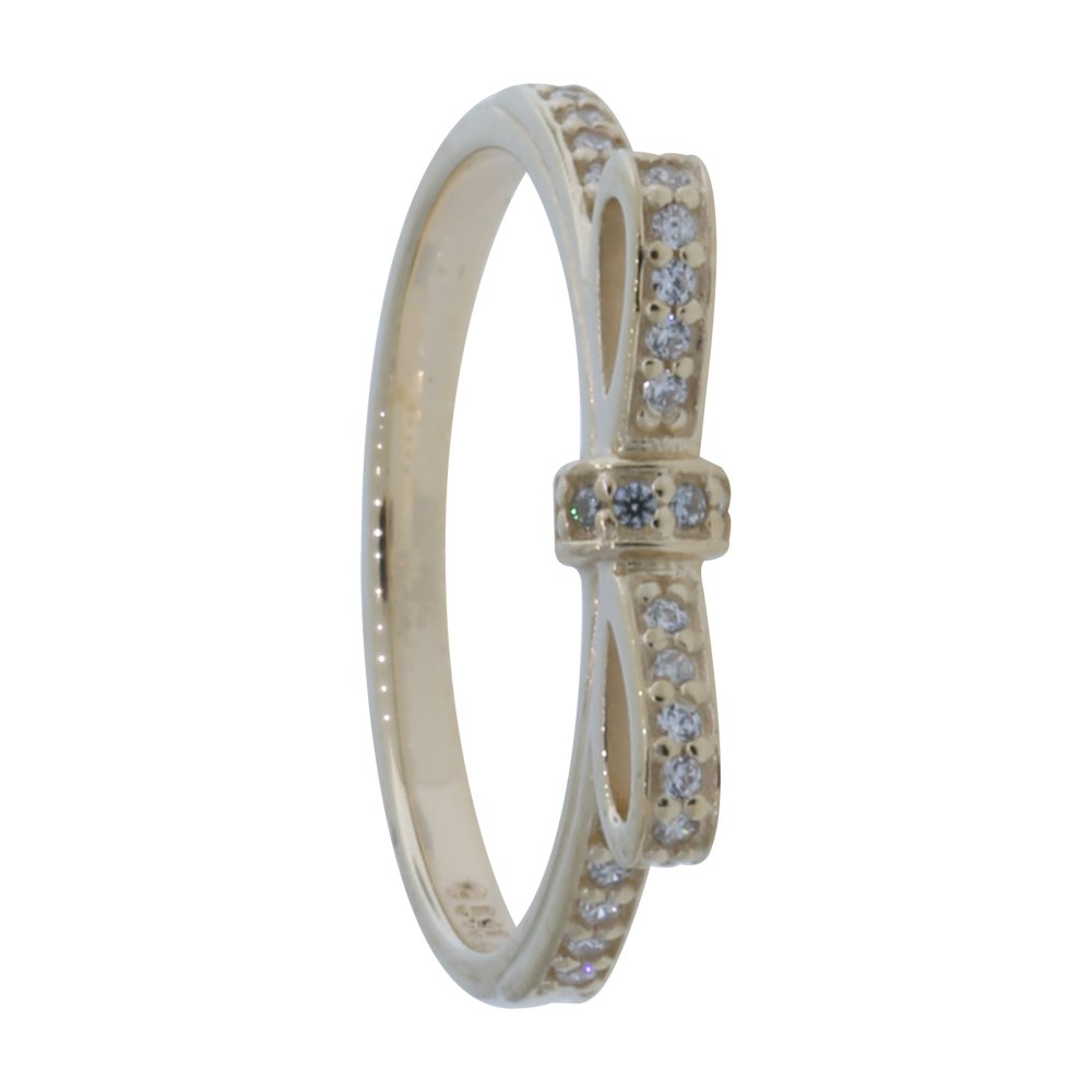 Pandora Sparkling Bow Stackable Ring, Clear CZ, 14K Gold 150175CZ-54