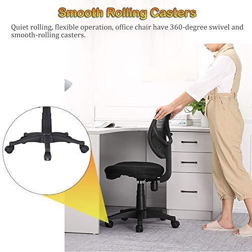 Svart hemmakontor stol med hjul, mesh ergonomiska skrivbordsstolar för små utrymmen, fr långa timmar arbete/studier, justerbar höjd