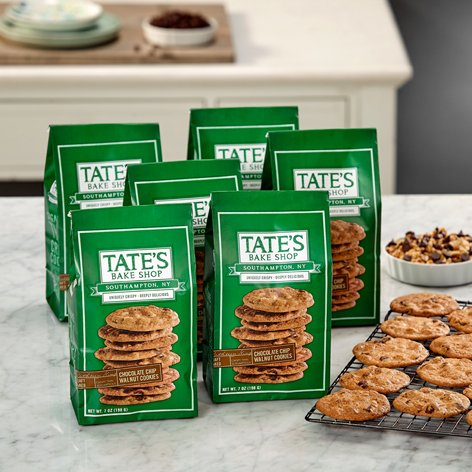 Tate's Bake Shop 6 Pack Chocolate Chip Cookies with Walnuts (Walnut Chocolate Cookies)