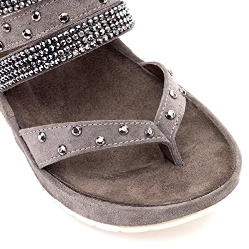 CAFèNOIR Qhd612 - Sandalias de cuña Mujer E15.2011 CENERE