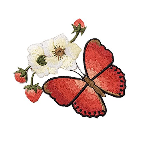 XUNHUI Red Butterfly Flower Patches Embroidered for Clothing Iron Applique Clothes Stickers Badge DIY 1 Piece