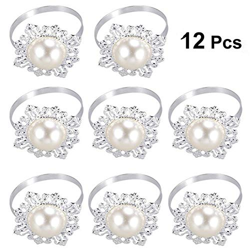 Pack of 10 Dinner Banquet Faux Pearl Napkin Ring Serviette Buckle Holder Wedding Birthday Christmas Date Anniversary Party Table Decoration