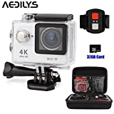 AKEDRE 4K WIFI Sports Action Camera 2.0 Inch LCD Screen Action Camera Waterproof 30M Sports Action Camera 16MP 170 Degree Wide Angle Lens 2.4G Wireless Remote Control +32GB Card +Carrying Bag