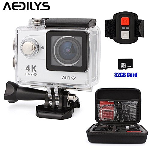 AKEDRE 4K WIFI Sports Action Camera 2.0 Inch LCD Screen Action Camera Waterproof 30M Sports Action Camera 16MP 170 Degree Wide Angle Lens 2.4G Wireless Remote Control +32GB Card +Carrying Bag by AKEDRE