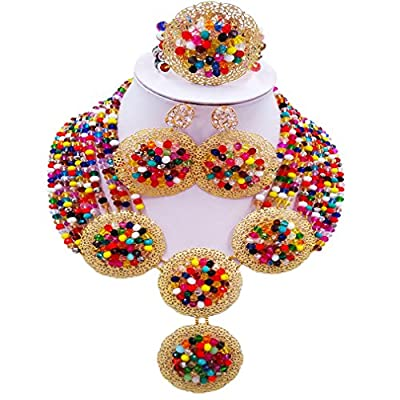 laanc 10 Rows Necklace 4 Brooch Multicolor Crystal African Beads Nigerian Wedding Women Jewelry Sets supplier