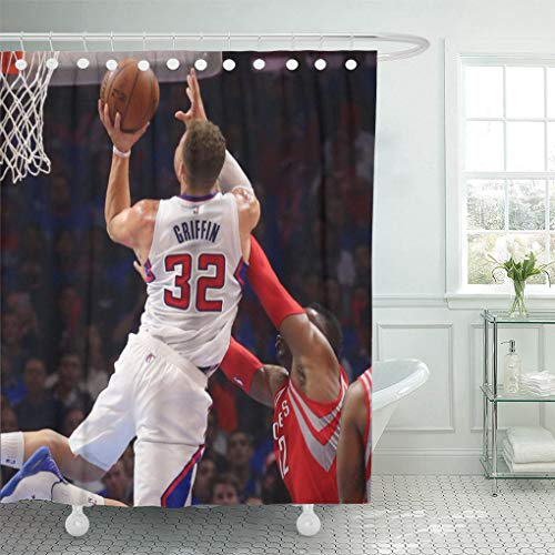 Ladble Rugby Decor Shower Curtain Set with Hooks Dunk La City Basketball Players Griffin Clippers 72 X 78 Inches Polyester Waterproof Bathroom