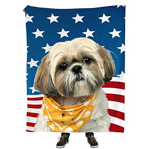 (Dogs Lover Gifts - Shih Tzu Dog with Stars Flag Pattern Blanket, 50