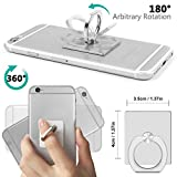 Phone Grip Sticky Cell Phone Ring Finger Grip Holder, YaSaShe Car Mount Holder Cradle Desk Stand Compatible with All Phones and Tablets (Silver)