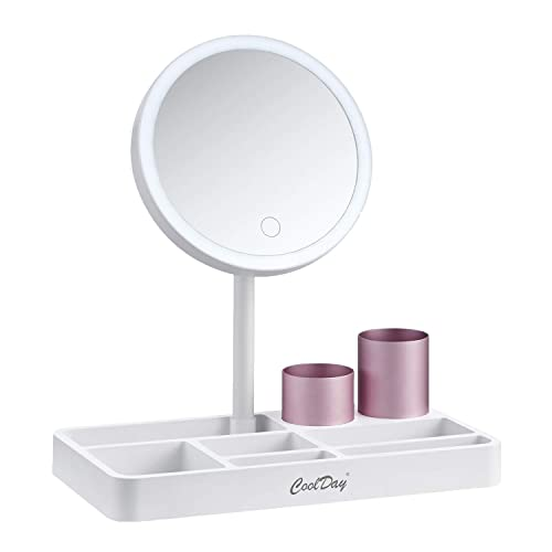 COOLDAY Lighted Makeup Mirror – 6.8 Vanity Mirror with Makeup Organizer Tray, Adjustable Natural Light, Touch Screen Stepless Dimming, 180 Degree Rotation, Rechargeable Cosmetic Mirror – White
