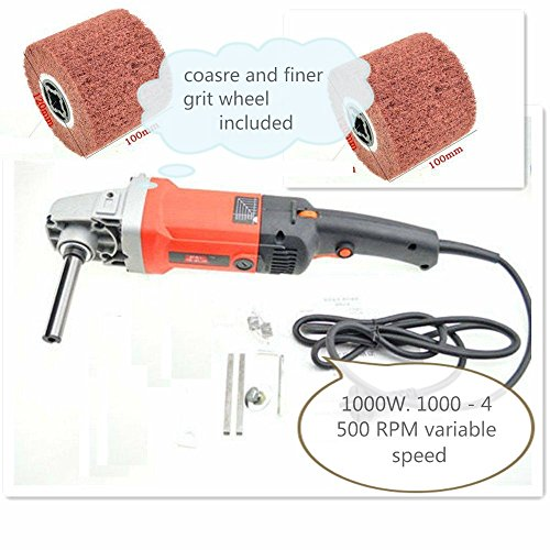 Burnisher 1000 Watt variable speed and 2 Pieces Metal polishing Finishing abrasive non-woven burnishing wheel fits Metabo toolsmart Roxx Tools metal rust remove stain remove wire drawing