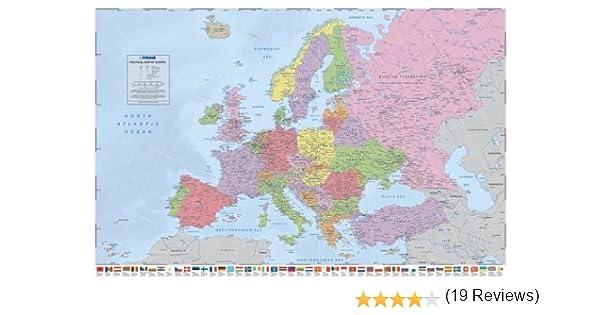 Brillo Laminado Político Mapa de Europa Póster con Banderas - 91.5 X 61cms (36 x 24 Inches): Amazon.es: Hogar