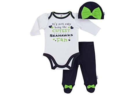 387143c14 Image Unavailable. Image not available for. Color: NFL Seattle Seahawks Baby-Girls  Bodysuit, Pant, Cap Set, Blue, 0