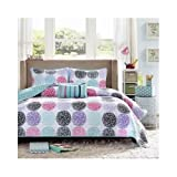 Full/queen Reversible Coverlet Set Pink Teal Purple Bedding Teen Girls Pillows