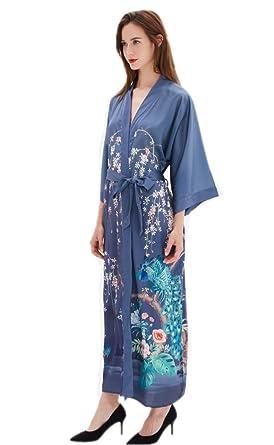 Prettystern Mujeres Piso-Longitud 100% Seda Kimono Estampado Bata Robe Flores jardín Estanque Gris-Azul L08: Amazon.es: Ropa y accesorios