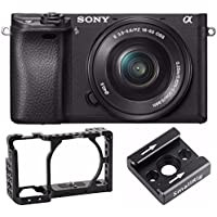 Sony Alpha a6300 Mirrorless Camera w/ 16-50mm + SmallRig Camera Cage for Sony a6300 & Cold Shoe Mount Bracket