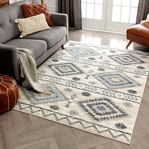 Well Woven Prato Blue Grey Southwestern Area Rug 8×11 7 10 x 10 6