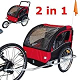 2 in 1 Double Child Baby Bike Trailer Bicycle