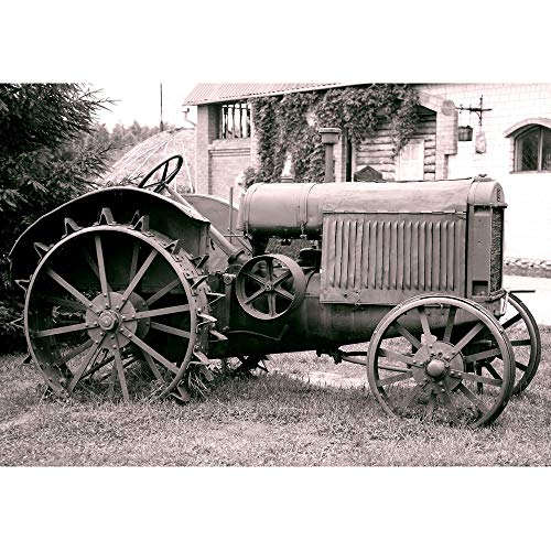 LanimioLOX Old Tractor with Iron Wheels is Thrown on a Roadside - Removable Wall Mural | Self-Adhesive Large Wallpaper