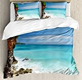 Seaside Decor King Size Duvet Cover Set by Ambesonne, Tropical Beach Seaside Cliff Under Clear Sky Coastline of Bali Island, Indonesia, Decorative 3 Piece Bedding Set with 2 Pillow Shams