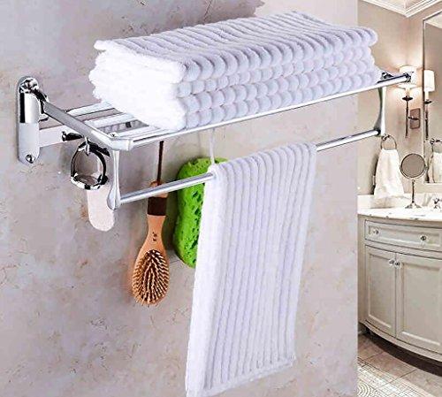 YAOHAOHAO Bathroom towel rack shelving/stainless steel folding towel rack/bath rooms/bath rooms hardware accessories trailer/shelf bathroom (Color 1#, its size: 60 cm).