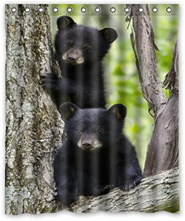 Black Bear Family In The Forest Shower Curtain,Shower Rings Included 60x72 Inches Shower Curtain
