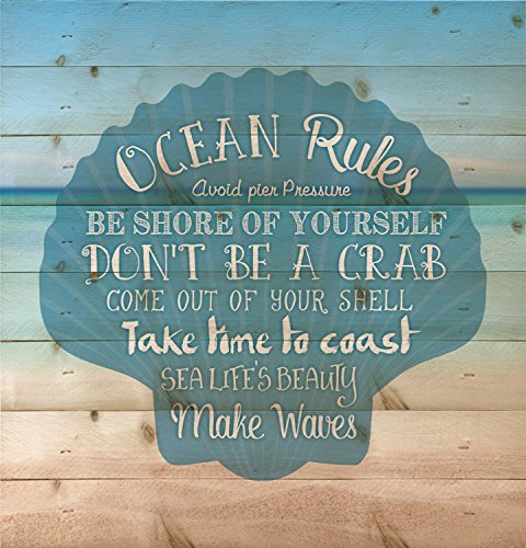 Ocean Rules Seashell Beach Design 12 x 12 Wood Pallet Design Wall Art Sign Plaque
