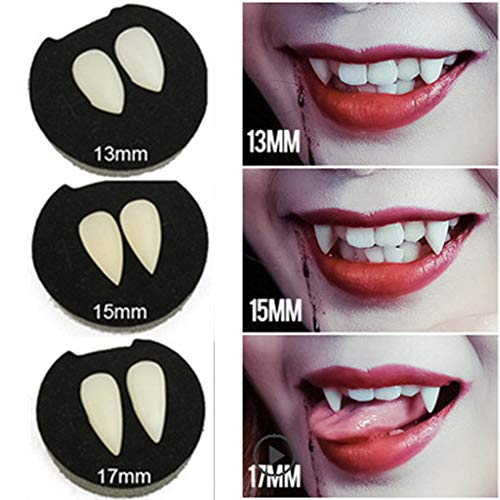 Halloween Vampire Teeth With Glue, Party Favors Cosplay Luminous Vampire Fangs Fake Tooth 3pics ()