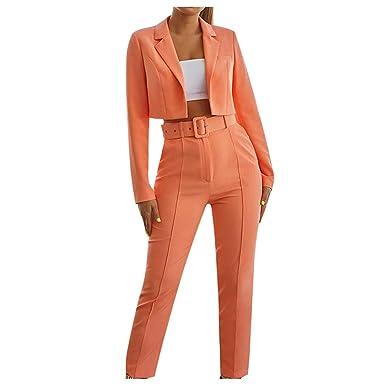FRAUIT Conjunto de Trajes Mujer Blazer Negocios Oficina Color ...