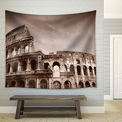 (wall26 - Rome, Italy. Famous Colosseum, Flavian Amphitheatre. Ancient Landmark. Sepia Tone - Retro Monochrome Color Style - Fabric Wall Tapestry Home Decor - 68x80 inches)