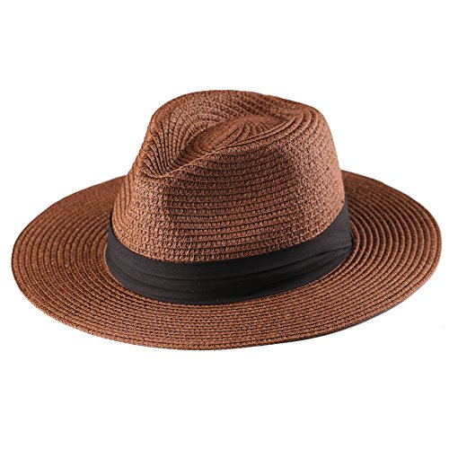 Panama Straw Hat,Womens Sun Hats Summer Wide Brim Floppy Fedora Beach Cap UPF50+ (A12-Deep Brown) (Best Quality Panama Hats)