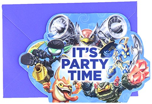 "Amscan Swashbuckling Skylanders Birthday Party Postcard Invitation Cards Supply (8 Pack), 4 1/4"" x 6 1/4"", Blue"