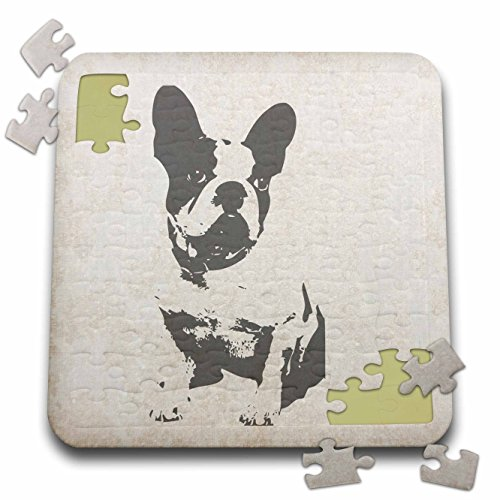 3dRose Florene - Dog - Image of Boston Terrier Vintage Style Art - 10x10 Inch Puzzle (pzl_233737_2)