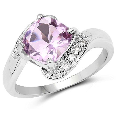Pink Topaz Ring - Johareez 2.24 Carat Genuine Pink Amethyst & White Topaz .925 Sterling Silver Ring