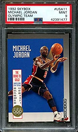 269213f495b 1992-93 skybox olympic team #usa11 MICHAEL JORDAN chicago bulls PSA 9  Graded Card