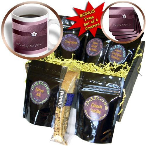 Beverly Turner Wedding Attendant and Bridal Party Design - Maid of Honor, Rose Pink Ribbon with Flower - Coffee Gift Baskets - Coffee Gift Basket (cgb_49121_1) ()