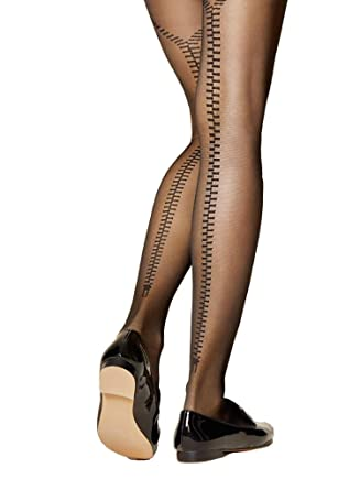 726825732 Fiore Fidele Seamed Zip Tights  Amazon.co.uk  Clothing