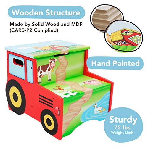 812401014827 - Fantasy Fields - Happy Farm Animals Thematic Kids Wooden Step Stool with Storage | Imagination Inspiring Hand Crafted & Hand Painted Details | Non-Toxic, Lead Free Water-based Paint carousel main 1