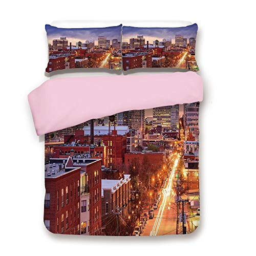 Pink Duvet Cover Set,Queen Size,Richmond Virginia Highway Office Buildings Downtown at Dusk Urban Lifestyle Decorative,Decorative 3 Piece Bedding Set with 2 Pillow Sham,Best Gift For Girls Women,Multi