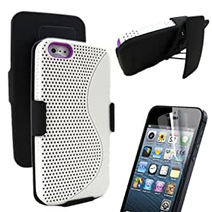 MINITURTLE, Slick S Mesh Hybrid Protective Phone Case Cover, Swiveling Holster, and Screen Protector Film Accessory Kit Combo for Apple iPhone 5 (White / Purple)