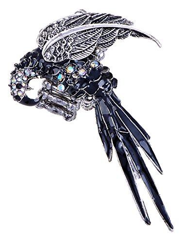 Alilang Vintage Inspired Rainbow Rhinestone Enamel Parrot Bird Adjustable Ring