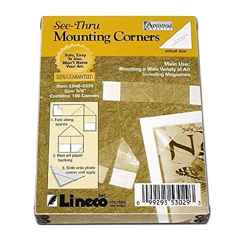 Crystal Clear Photo Mount (Lineco See-Thru Mounting Corners pack of 100)