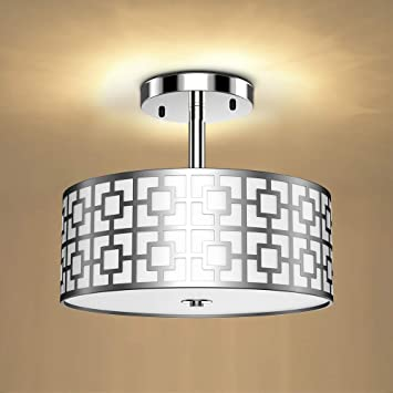 Dllt Semi Flush Mount Ceiling Light 3 Lights Modern Entry Light Fixture Ceiling Hanging With Drum Shade For Bedroom Dining Room Kitchen Hallway Entry Foyer Living Room Rushed Chrome Finish Amazon Com