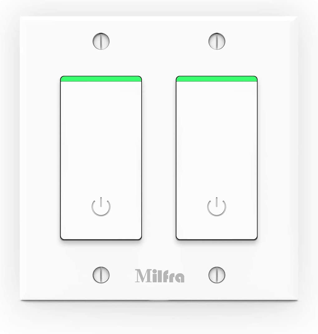 Milfra Smart Light Switch 2 Gang-WiFi Smart Light Double Switch Work with Alexa, Google Home,Wireless Control, 2.4G WiFi Smart Light Switch, Single-Pole, Neutral Wire Required, No hub, 2 Gang