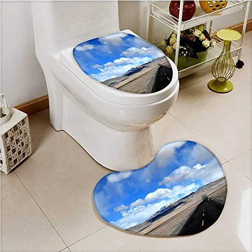 SCOCICI1588 Non-Slip Bathroom Mats Set Tibet line car alone Customized Heart shaped foot -