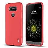 LG G5 Case, J&D [Jelly Cushion] [Slim Fit] Apple LG G5 Anti-Scratch Clear Back Panel + TPU Bumper Case for LG G5 - Red