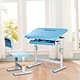 I STUDY Height Adjustable Children's Desk and Chair Set For Kids Work Station, Study Area (Blue)